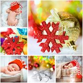 collage of Christmas photo with a newborn baby