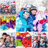 collage of Christmas photo with a happy family