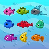 foto of aquatic animal  - Set of cute cartoon vector fishes on the water background - JPG