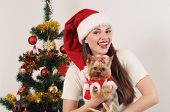 Happy Smiling Woman In Santa Hat With Toy Terrier Near Christmas Tree