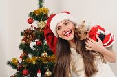 Happy Smiling Woman In Santa Hat With Toy Terrier