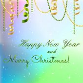 New Year Greeting Card, Christmas Bow And Ribbon