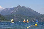 stock photo of annecy  - sailing boats on Lake Annecy in the French Alps - JPG
