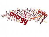 Concept or conceptual abstract green energy and ecology and conservation word cloud text on white background
