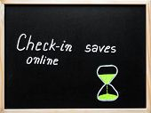 Check-in Online Saves Time Message Written With White Chalk On Wooden Frame Blackboard