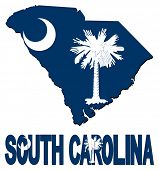 South Carolina map flag and text illustration