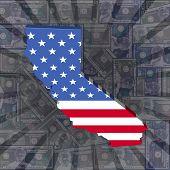 California map flag on dollars sunburst illustration