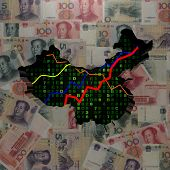 China map with hex code and graphs on Yuan illustration
