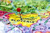 Ljubljana pinned on a map of europe
