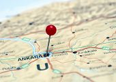 Ankara pinned on a map of europe