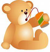 Teddy bear drinking soda