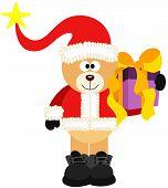 Teddy Bear Santa With Christmas Gift