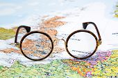 Glasses on a map of europe - London