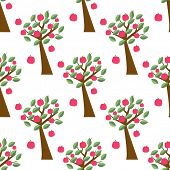 Seamless pattern with apple trees. Vector design for web, wallpaper, textile, wrap or other.