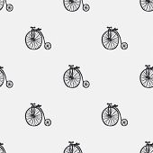 Vector seamless pattern with retro bikes. Vintage seamless pattern