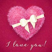 Pink fluffy heart with white bow, vector greeting card