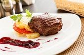 steak with potatoes