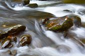 Rushing stream over boulders