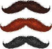 Brown, black and ginger isolated mustaches set