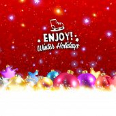 Elegant Christmas Background with Winter Label and Xmas Balls,