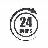 Icon Of Symbol, Sign Open Around The Clock Or 24 Hours A Day