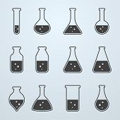 Chemical, Biological Science Laboratory Equipment - Test Tubes And Flasks Icons