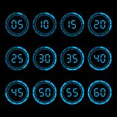 image of countdown timer  - Digital countdown timer with five minutes interval - JPG