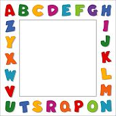 Alphabet Frame, Primary Colors, White Border