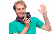 Portret Of Funny Cheerful Photographer With Camera