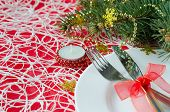 Christmas And New Year Table Place Setting With Christmas Decorations.