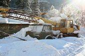 The Truck Crane Under Snow