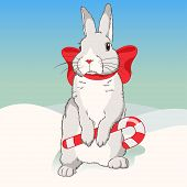 Christmas fluffy white standing rabbit