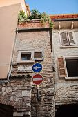 street view with road signs in Sirmione, Garda Lake, Italy