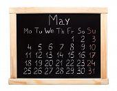 stock photo of monday  - 2015 year calendar made on blackboard - JPG