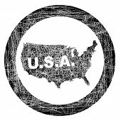 Usa Map Stamp