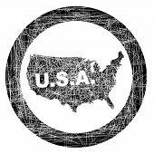 Usa Map Stamp
