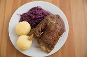 Roasted goose leg with braised red cabbage