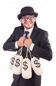 Man with sacks of money isolated on white