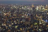 Tokyo city night view with Tokyo Tower landmark