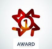 Colorful award business logo, abstract color shape design