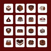 Set Icons Of Chocolate  Icons - Illustration