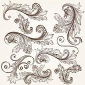 Collection Of Vector Hand Drawn Swirls Design