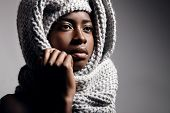 Black Woman Wearing Knitted Scarf