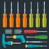 flat various screwdrivers set