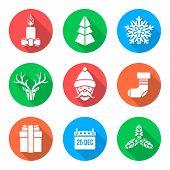 flat white design christmas icons set
