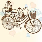 Gentle Wedding Background With Bicycle And Butterflies