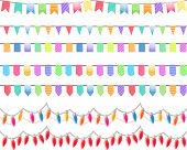 Seven festive horizontal seamless patterns. Endless texture is useful for holidays, Birthday parties, Christmas.