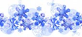 Seamless horizontal pattern with blue 3d snowflakes. Endless texture.