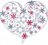 Heart made of different snowflakes.
