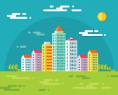 Building in city - vector concept illustration in flat design style for presentation, booklet, web s